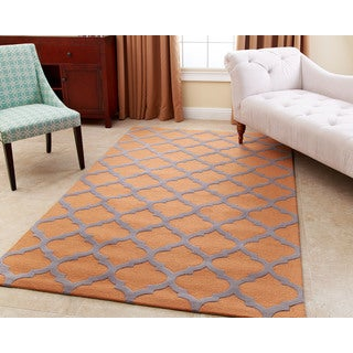 Abbyson Hand-tufted Vera Orange New Zealand Wool Rug (5' x 8')