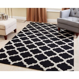 ABBYSON LIVING Hand-tufted Vera Black New Zealand Wool Rug (8' x 10')