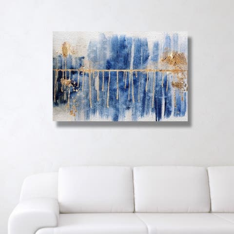 Oliver Gal 'Path to You Gold' Blue Abstract Gallery Wrapped Canvas Art