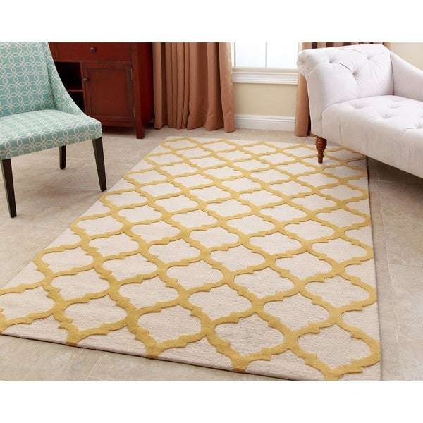 Abbyson Hand-tufted Vera Yellow New Zealand Wool Rug - 3' x 5'