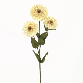 3-flower White Zinnia with 7 Leaves (Pack of 12)