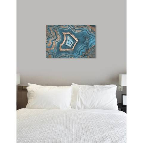 Oliver Gal 'Dreaming About You Geode' Abstract Wall Art Canvas Print - Blue, Bronze
