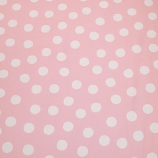 Poppy Pink Background w/ Big White Dot Fabric (3 Yards)