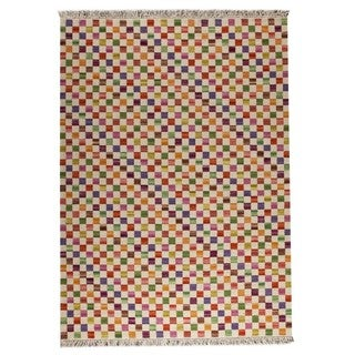M.A.Trading Hand-woven Small Box White/ Multicolored Rug (6'6 x 9'9)