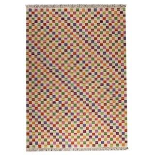Handmade M.A.Trading Small Box White/ Multicolored Rug (India)