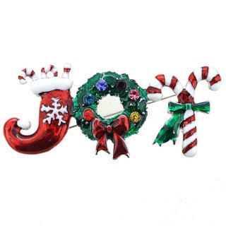 Christmas Joy Wreath Brooch Pin