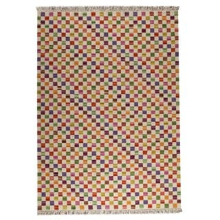 M.A.Trading Hand-woven Small Box White/ Multicolored Rug (5'6 x 7'10)