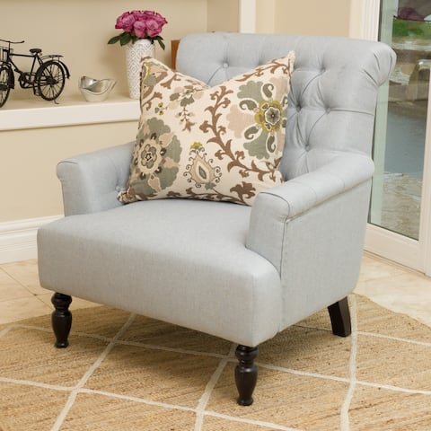 Bernstein Contemporary Button-Tufted Fabric Club Chair with Rolled Backrest by Christopher Knight Home