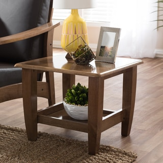 Baxton Studio Phanessa Mid-century Modern Walnut Finished Wood End Table