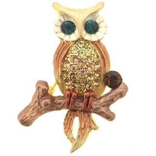 Brown Cubic Zirconia Owl Pin Brooch