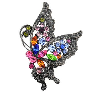 Cubic Zirconia Multicolor Flying Butterfly Pin Brooch