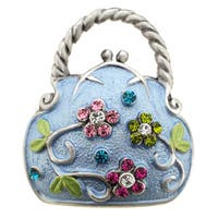 Multicolor Flower Blue Handbag Pin Brooch