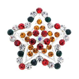 Multicolor Star Crystal Pin Brooch