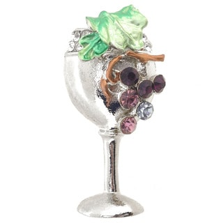 Cubic Zirconia Purple Grapes Wine Glass Brooch