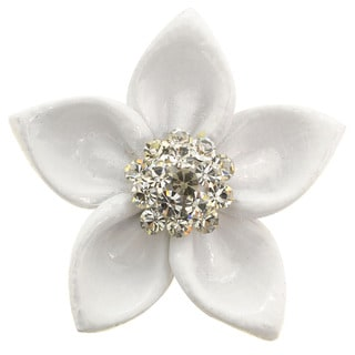 White Enamel Pin Brooch