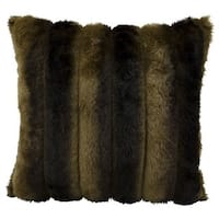 "Mina Victory by Nourison Faux Fur Brown Throw Pillow (18"" x 18"")"