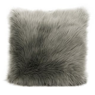 "Mina Victory by Nourison Faux Fur Silver Grey Throw Pillow (22"" x 22"")"