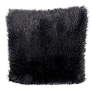 "Mina Victory by Nourison Faux Fur Black Throw Pillow (22"" x 22"")"