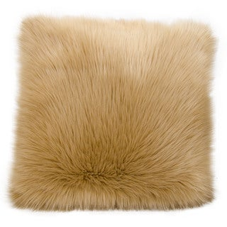 "Mina Victory by Nourison Faux Fur Beige Throw Pillow (22"" x 22"")"