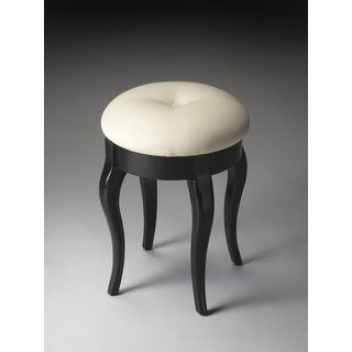 Masterpiece Black Licorice/ Cream Vanity Stool