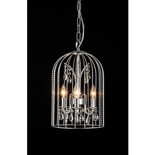 Arielle 3-light Crystal Cage 10-inch Chrome Chandelier