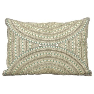 Mina Victory Dallas Beaded Aztec Ivory Throw Pillowby Nourison (14-Inch X 20-Inch)