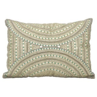 Mina Victory Dallas Beaded Aztec Ivory Throw Pillow (14-inch x 20-inch) by Nourison