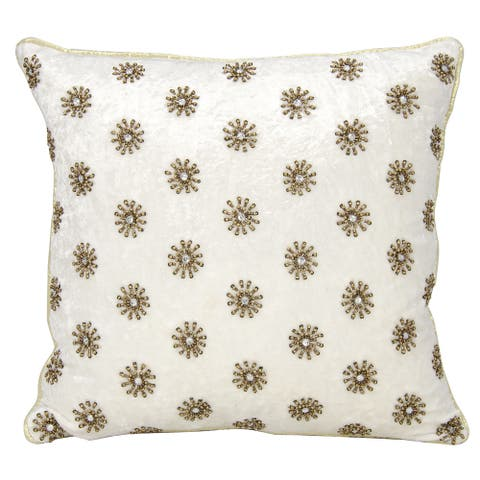 Mina Victory Luster Sun Shimmer IvoryThrow Pillow by Nourison (16-Inch X 16-Inch)