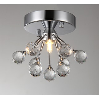 Madoline 1-light Crystal 6-inch Chrome-finish Flush Mount