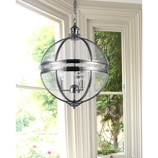 Olsen 3-light Clear Glass 16-inch Round Chrome-finish Chandelier