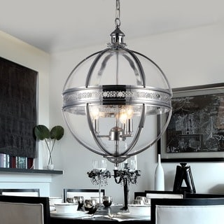 Link to Olsen 3-light Clear Glass 16-inch Round Chrome-finish Chandelier Similar Items in Pendant Lights