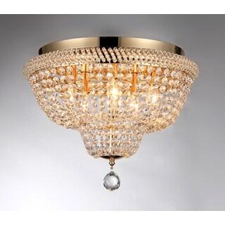 Sammy 5-light Crystal 16-inch Gold-finish Flush Mount