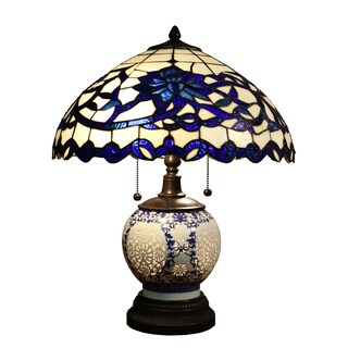 Warehouse of Tiffany Akiko Blue/Tan Glass/Metal 21-inch 3-light Tiffany-style Table Lamp