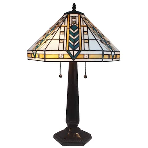 Caeli 2-light Mission-style 16-inch White Tiffany-style Table Lamp