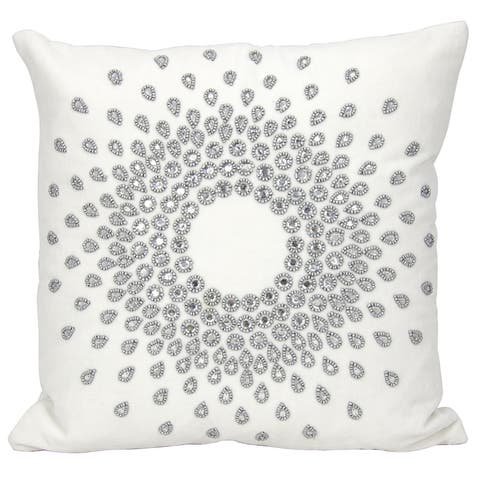 Mina Victory Luster Sun Burst Beauty SilverThrow Pillow by Nourison (16-Inch X 16-Inch)