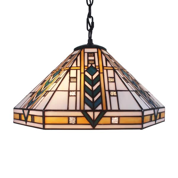 Eljie 1 Light Mission Style 16 Inch White Tiffany Style Ceiling Lamp Overstock 11512004