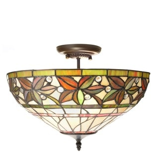 Eureka 2-light Multicolor 16-inch Leafy Tiffany-style Ceiling Lamp