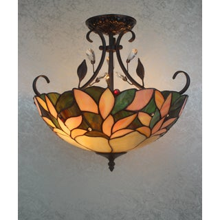Merveilleux Aika 2 Light Leafy 16 Inch Tiffany Style With Crystals Ceiling Lamp