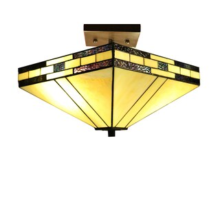 Laida 2-light Off-white 14-inch Tiffany-style Ceiling Lamp