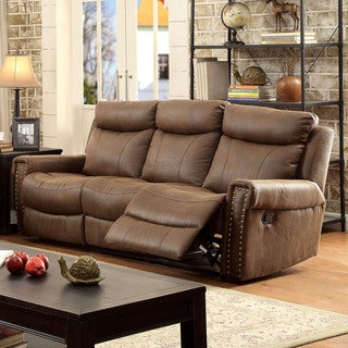 Furniture of America Camille Transitional Brown Upholstered Reclining Sofa
