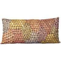 """Mina Victory by Nourison Button Multicolor Throw Pillow (14"""" x 20"""")"""