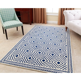 ABBYSON LIVING Hand-tufted Claridge Royal Blue New Zealand Wool Rug (3' x 5')