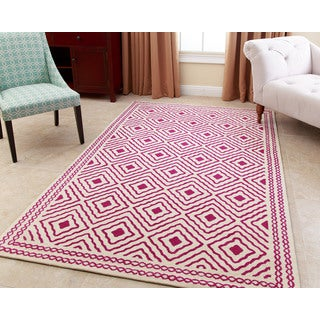 ABBYSON LIVING Hand-tufted Claridge Magenta New Zealand Wool Rug (3' x 5')