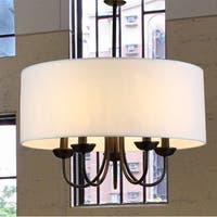 Gwenevere 5-light White Fabric 22-inch Black-finish Chandelier