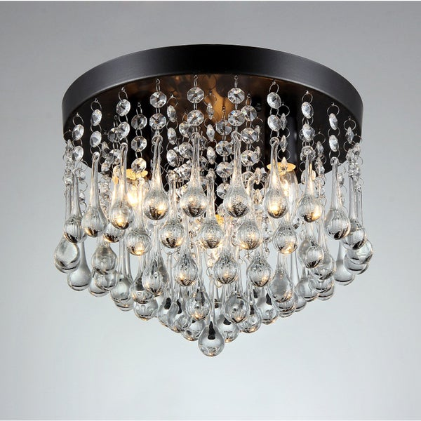 Gisela 3-light Crystal Black-finish Flush Mount