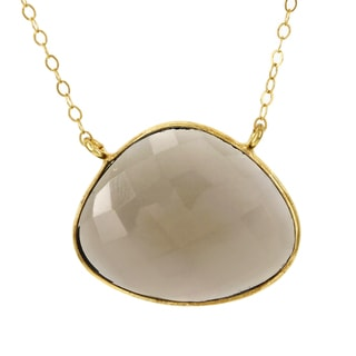Fox and Baubles Gold over Silver Smokey Quartz Kidney-cut Necklace