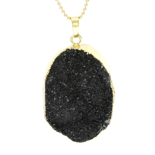 Fox and Baubles Sterling Silver Black Druzy Quartz Pendant