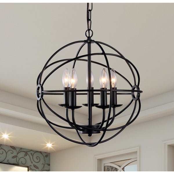 Shop Meila 5 Light Black 16 Inch Spherical Chandelier Free Shipping Today Overstock Com