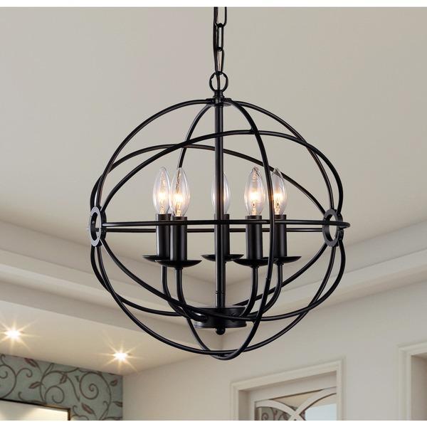 Meila 5-light Black 16-inch Spherical Chandelier