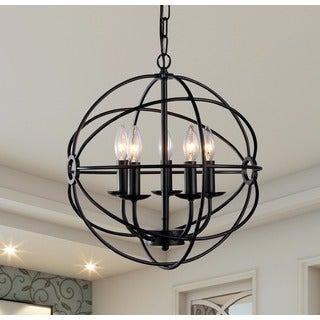 Warehouse of Tiffany Meila 5-light Black Metal 16-inch Spherical Chandelier